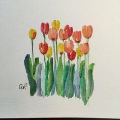 Primavera tulipanes acuarela tarjeta / tarjeta acuarela pintada a mano Esperando la primavera Mostrar cara caliente pronto!! Cuando miro hacia fuera en la nieve que cae en mi patio! ¡A veces debe hacer su propio color! Esta tarjeta es una acuarela original. No es una impresión. He usado tinta y acuarela en esta tarjeta de 5 x 7. Esta tarjeta es paisaje orientado. Viene con un juego envolvente en una manga protectora.