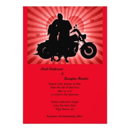 Motorcycle Couple & Hearts Wedding Invitation