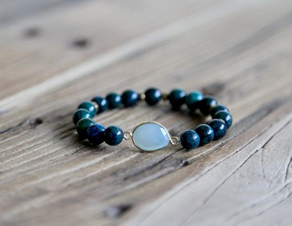 Howlite chrysocolla beaded stacking bracelet by Rosehip Jewelry