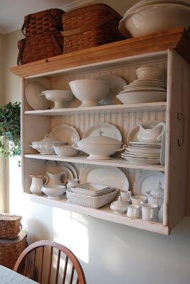 HOME DECOR – FURNITURE – HUTCH – wall hutch takes up no floor space and offers an organized display.