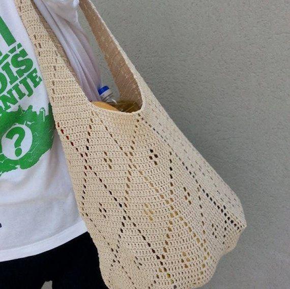 Crochet Shoping Bag Beige Everuday Bag Handmade von MilenaCrochet