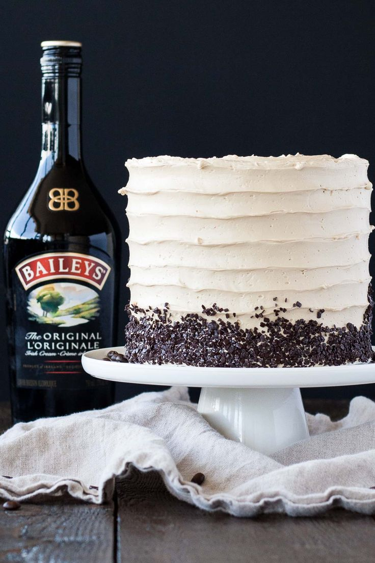 "Bailey's swiss meringue gives this cake a boozy twist. Get the recipe <a href=""http://livforcake.com/2016/04/coffee-baileys-layer-cake.html""><strong>HERE</strong></a>."