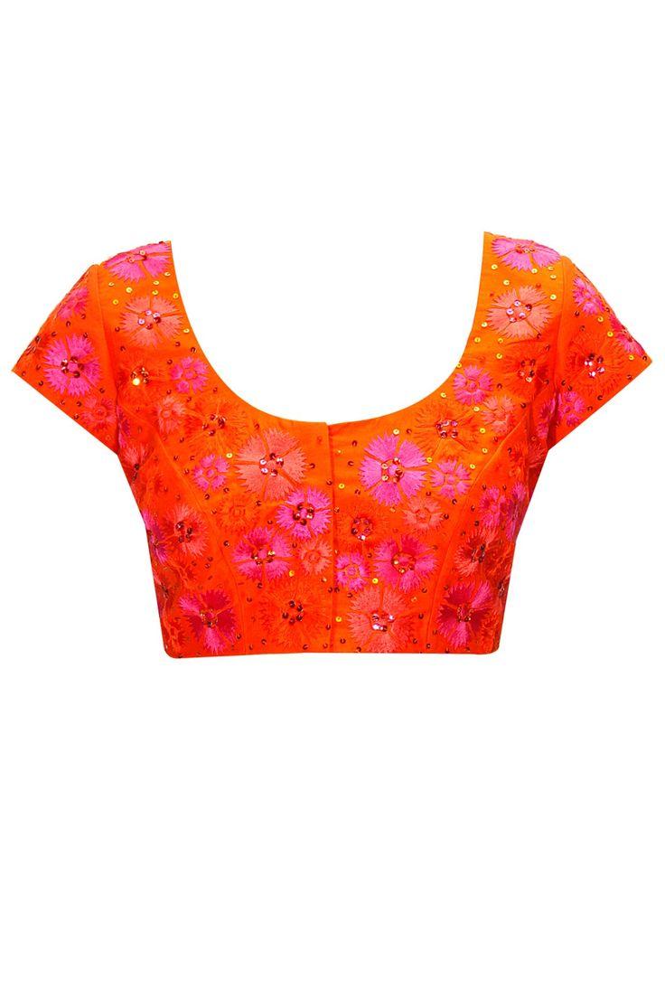 Orange flower embroidered blouse  by Nachiket Barve. Shop at: http://www.perniaspopupshop.com/designers/nachiket-barve #blouse #nachiketbarve #shopnow #perniaspopupshop