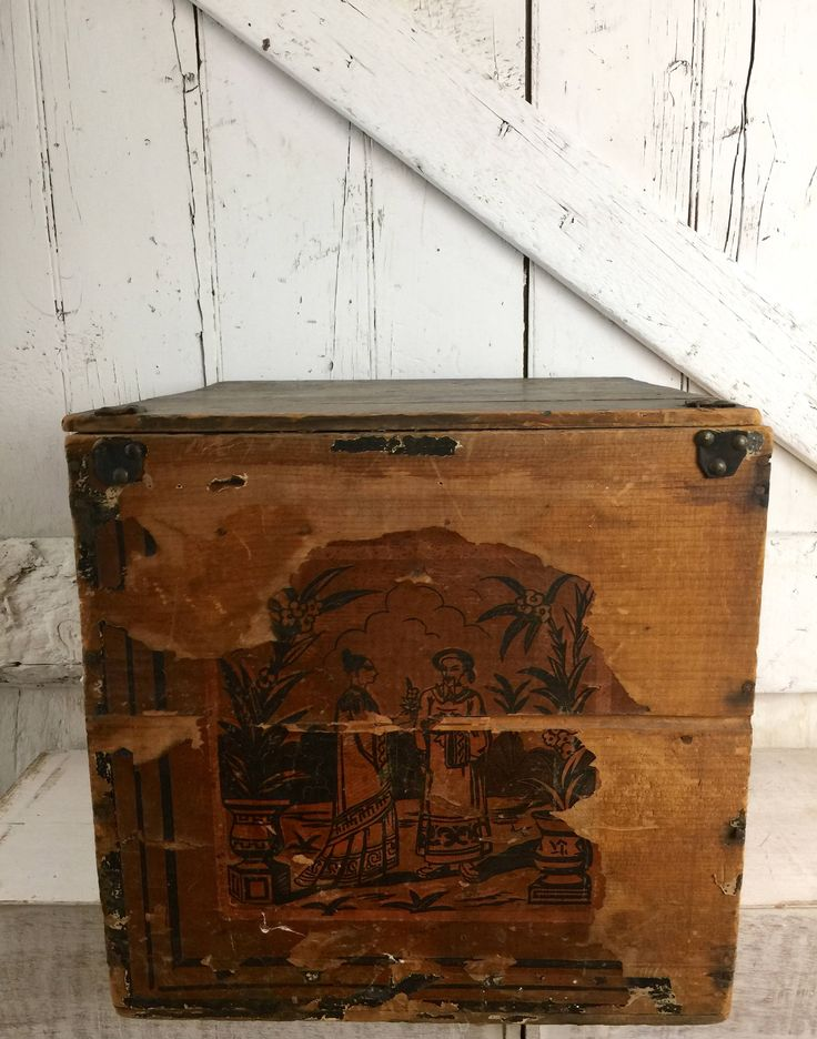 Antique wooden box with lid tea crate with Original Chinese Asian advertisement paper by LititzCarriageHouse on Etsy