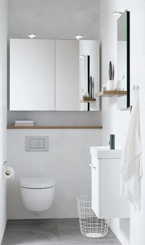 The Micro Menuet washbasin fits perfectly into small or narrow bathrooms and cloakrooms. Use the space above the toilet for cabinets or a mirror cabinet with lots of room for storage.