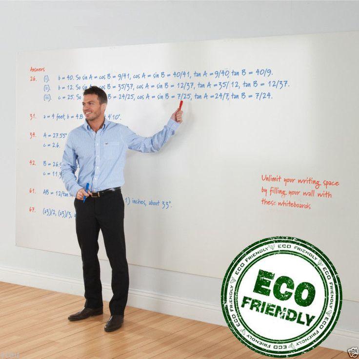 Large Stick on Whiteboard Sticker Soft  200 x 45 cm 1 Dry Erase Marker