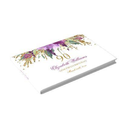 Floral Glitter Sparkling Amethyst 90th Birthday Guest Book - birthday gifts party celebration custom gift ideas diy