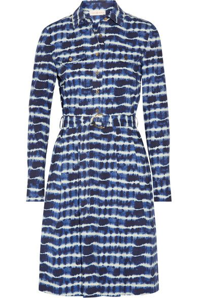 Tory Burch - Derrick Tie-dyed Stretch-cotton Poplin Shirt Dress - Navy - US