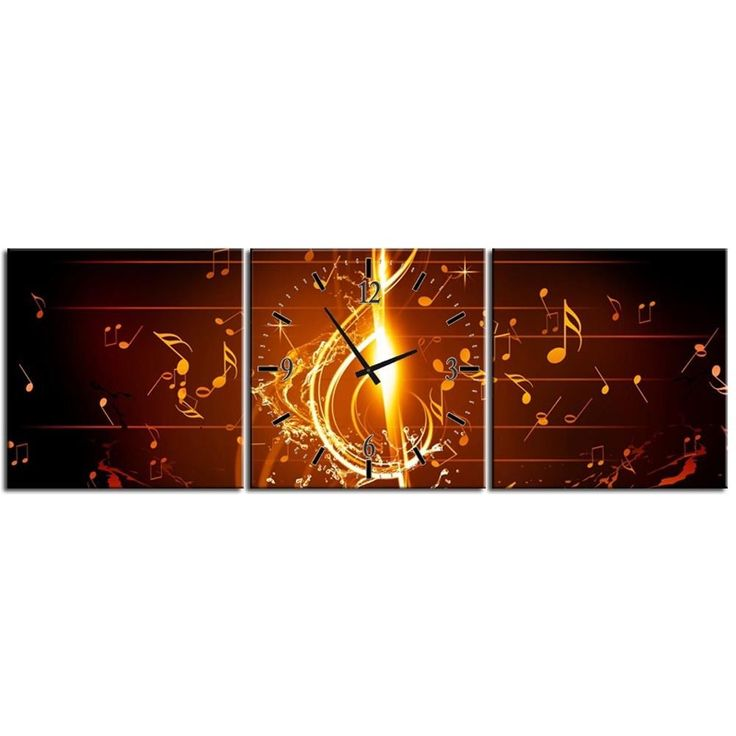 3 Piece Designer Canvas Picture Wall Clock Notes Concert Picture Music