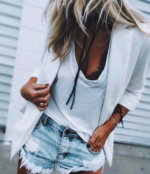 white blazer + lace bralette + denim shorts