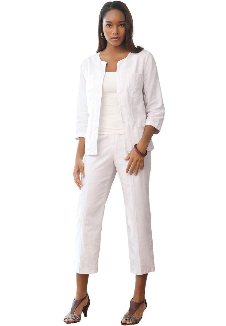 Linen Capri Suit | Plus Size New in Clothing | Jessica London | Beauty Ideas | Pinterest