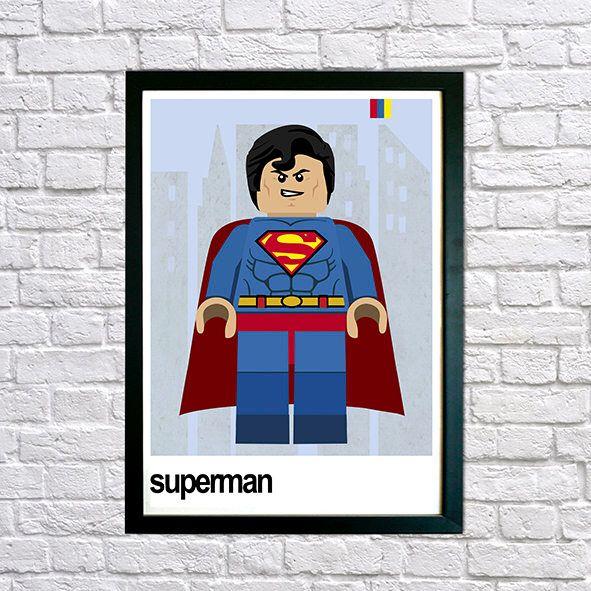 Lego Superhero Superman - Framed print, Mid Century Modern, Modernist, Super Hero Wall Art, Childrens Bedroom Art, Marvel Hero, Lego Poster by houseofprintsshop on Etsy https://www.etsy.com/uk/listing/519114517/lego-superhero-superman-framed-print-mid