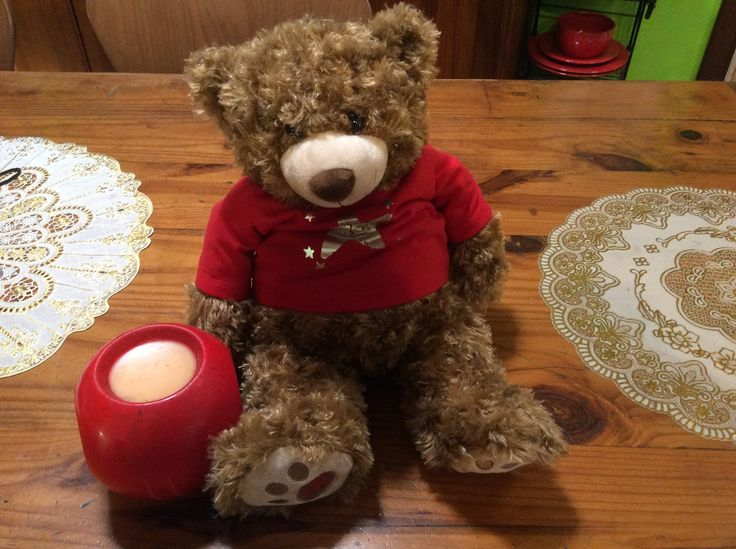 """Starry Starry Bear has come to join our other """"Writing bears""""  and the children will have to write in his journal every day as he does not have an opposable thumb and cannot hold a pencil!"""