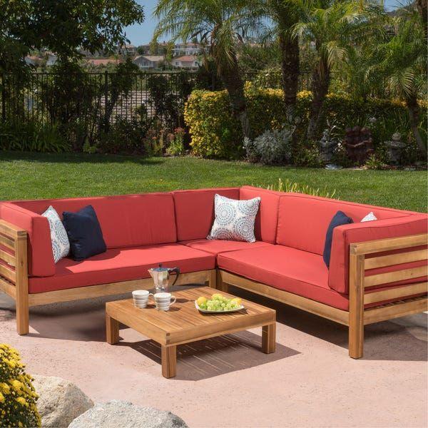 Oana Outdoor 5 Seater V Shaped Acacia Wood Sectional Sofa Set With