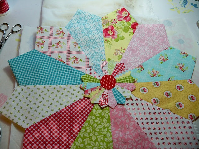 A dresden with a mini dresden center?  Cute, cute, cute!  Tutorial from A Quilting Sheep