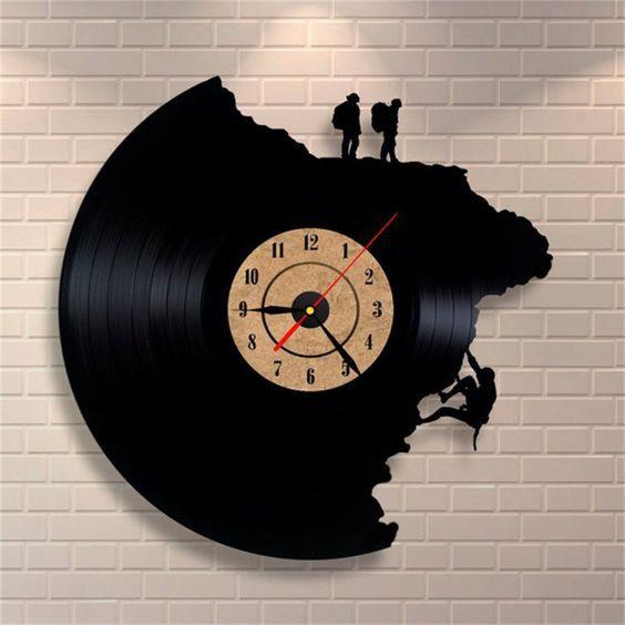 Vinyl Record Clock with Movie Scene
