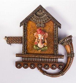 Home Decor   Papier Mache Shehnai Ganesha Wall Decor   ArtisanGilt.com