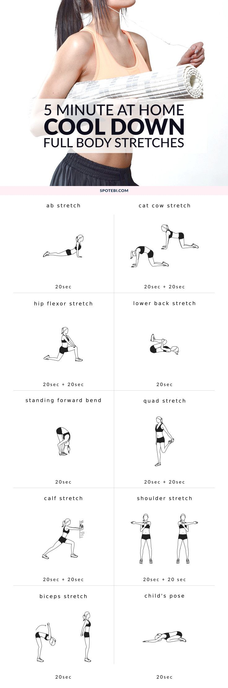 Stretch and relax your entire body with this 5 minute routine. Cool down exercises to increase muscle control, flexibility and range of motion. Have fun! http://www.spotebi.com/workout-routines/5-minute-full-body-cool-down-exercises/