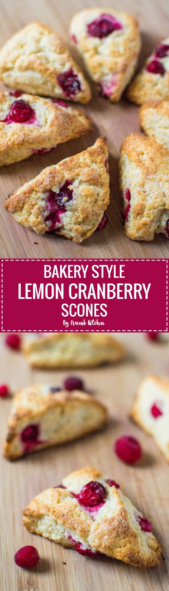 Plucked from the store window of your local bakery, these lemon cranberry scones are soft and fluffy inside with a crunchy sugar topping. | crumbkitchen.com