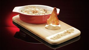 Pear and Walnut Crumble with Pear Wafers