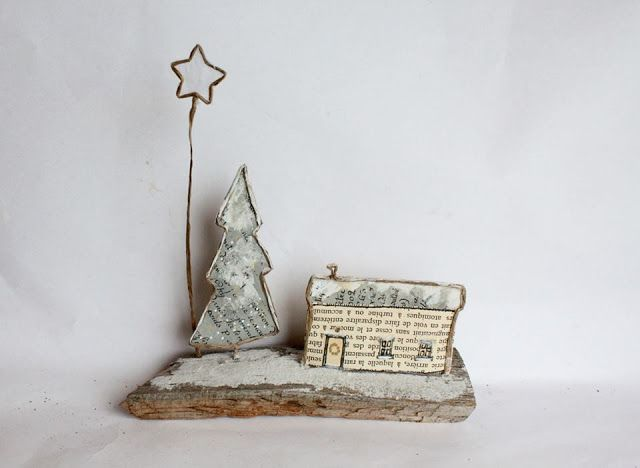 wire and paper house with tree and star - soooo cute - made by Epistyle