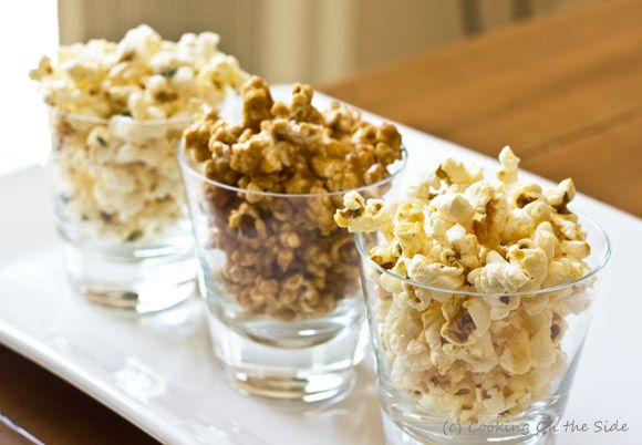 Homemade Popcorn Trio: Kettle Corn, Caramel Corn and Sea Salt, Thyme & Olive Oil Popcorn...get the recipe on www.cookingontheside.com