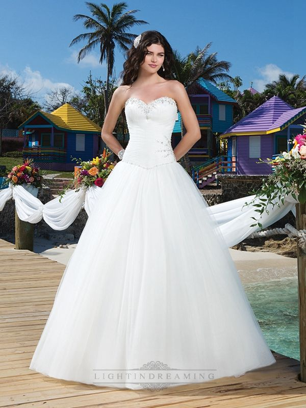 Pleated Sweetheart Neckline, Side Hip And Basque Waistline Tulle Ball Gown