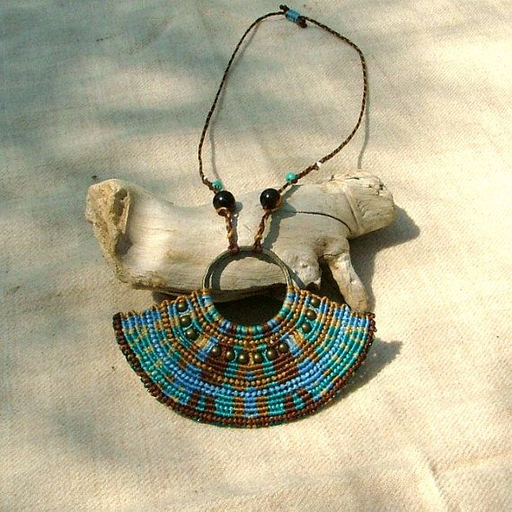 Beaded macrame necklace free spirit blue by MammaEarthCreations,
