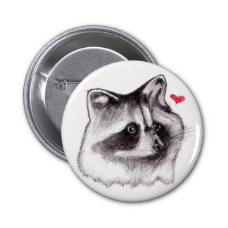 Raccoon Love 6 Cm Round Badge