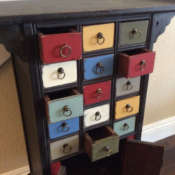 APOTHECARY STORAGE CABINET Asian Medicine Chest by shabbyshores