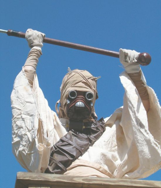 Awesome Tusken Raider Costume Tutorial - Has instructions for robe mask, belts and gaffi stick.