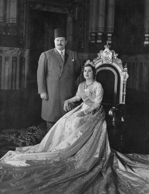 The first posed picture of King Farouk & his new bride, 17-year-old Queen Narrimann Sadek | Abdeen Palace | Cairo, Egypt 1951.