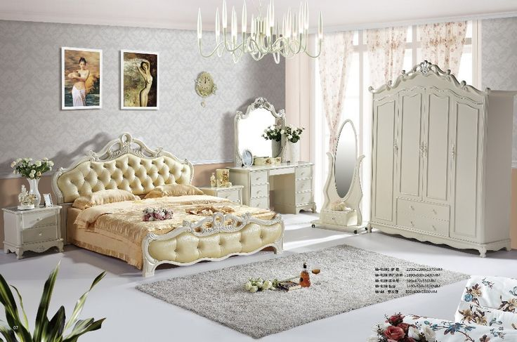JHY910 Romantic Cream white wooden queen king size 6PCS classic french wedding bedroom home furniture set #cream, #bedroom