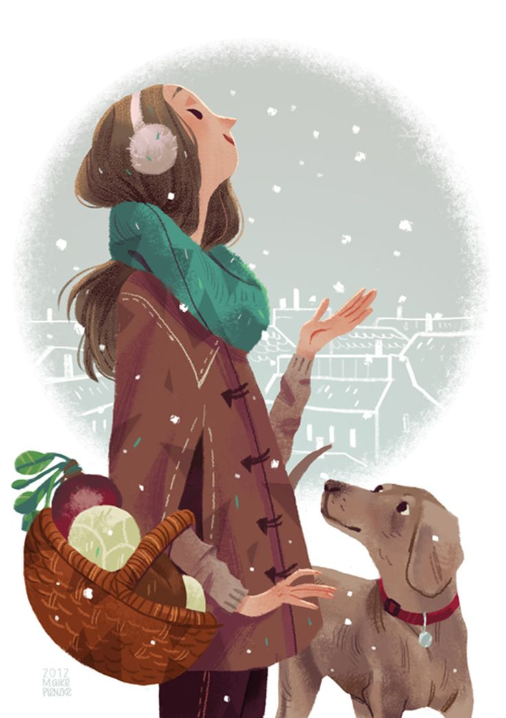 Girl and Dog Illustration / Ragazza e cane, illustrazione - Art by Maike Plenzke