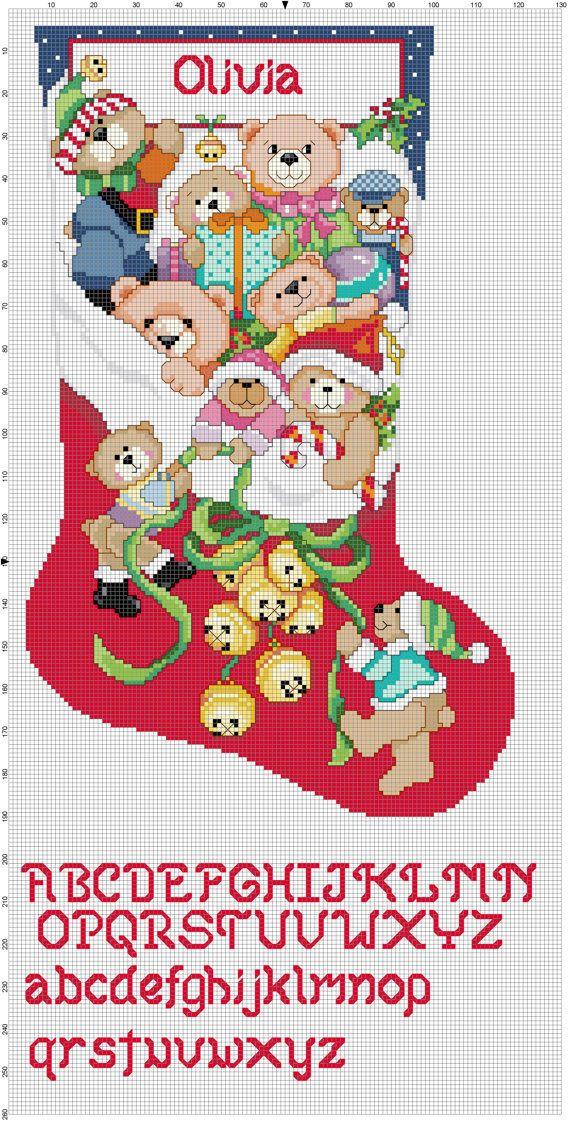 Jingle Bears by Stitchluv on Etsy, $2.00