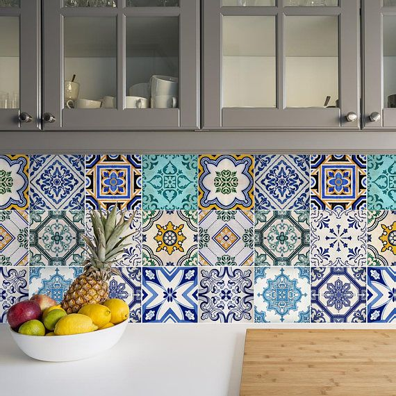 Traditional Spanish Tile Decals Tile Stickers Set Spanish Etsy Spanish Tile Kitchen Kitchen Tiles Traditional Tile