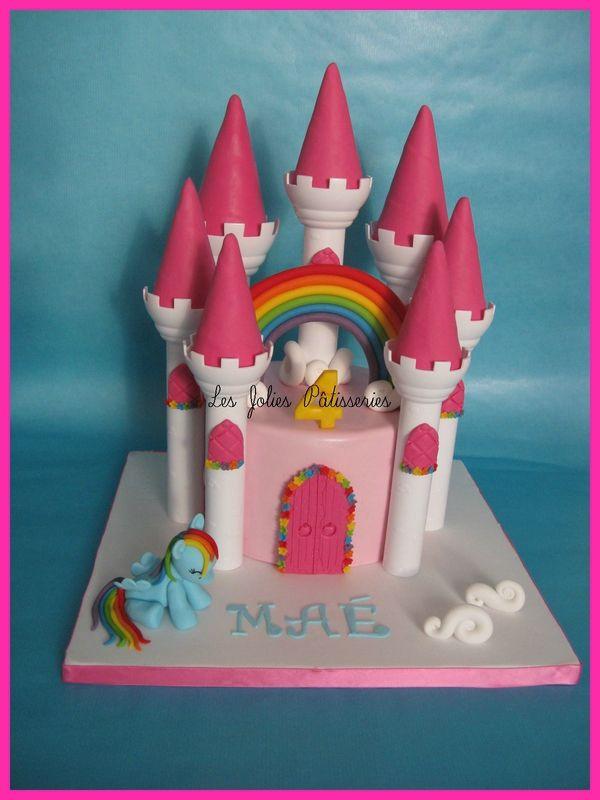 Gâteau Château arc en ciel et petit poney Rainbow Dash !