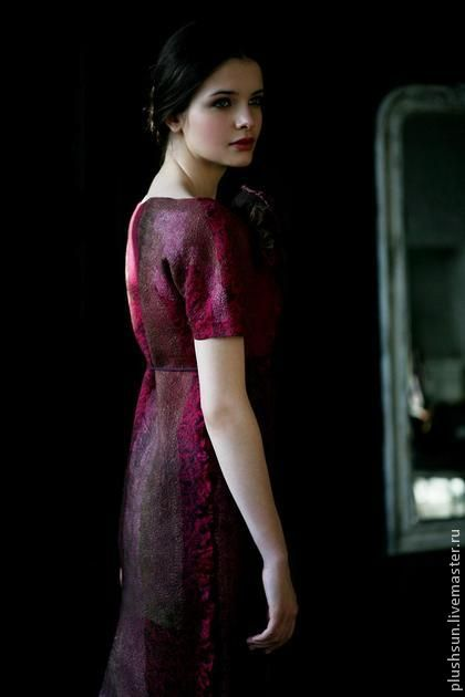 Платья ручной работы. Ярмарка Мастеров - ручная работа Валяное платье «Cherry wine». Handmade.