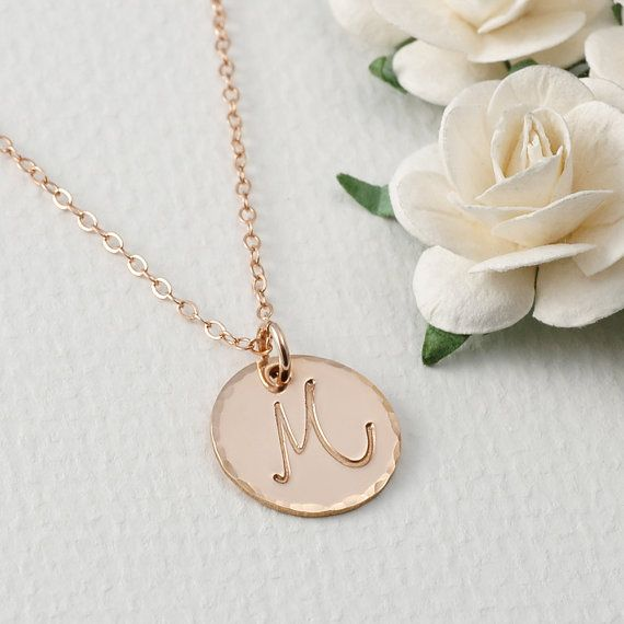 Rose Gold Initial necklace  5/8 disc