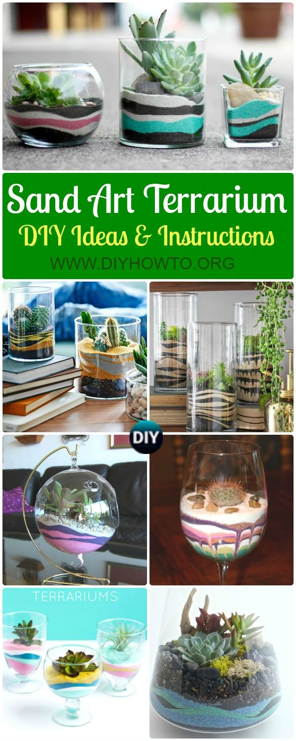 Collection of DIY Sand Art Terririum Ideas & Projects: Layered Sand Terrarium, Beach Themed, Dessert Themed Terrarium, Sand Succulent or Zen Garden via @diyhowto