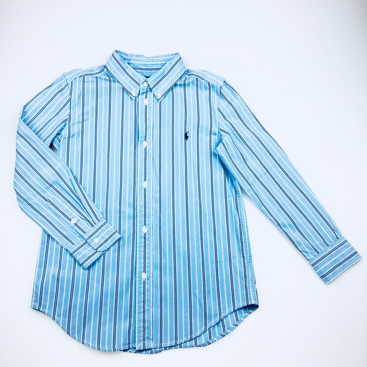 RALPH LAUREN, blue and white striped long-sleeved cotton shirt, excellent pre-loved condition (EUC), boy's size 7, $28
