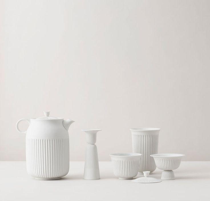 Pili Wu Han für Lyngby Porcelæn, Teekanne, Tasse und Dose mit Deckel. (Foto: Lyngby Porcelæn)