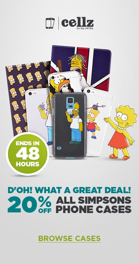 Your favorite Simpson's Cases are back now 20% OFF cheaper! #simpson #cellphone #cases #discount #promo #cartoon #cellz