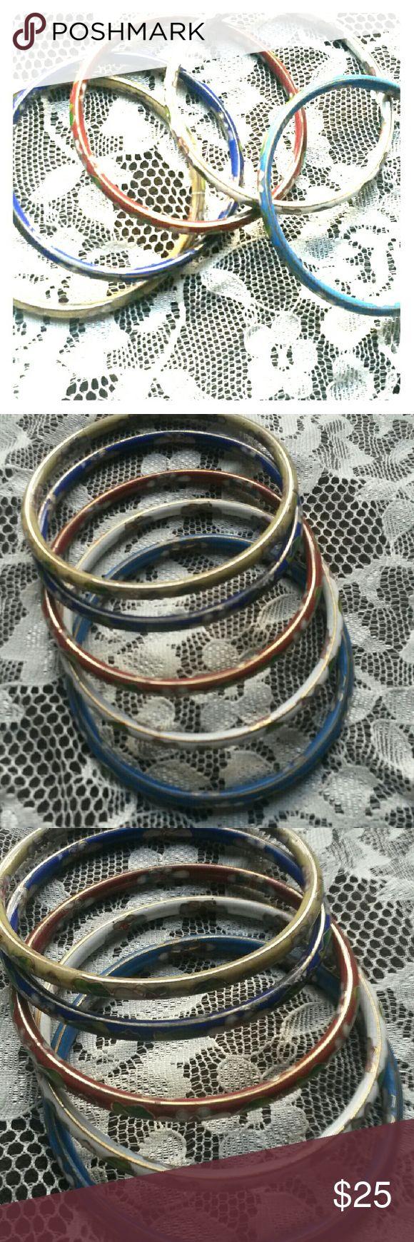Vintage Porcelain bangles Set Beautiful set of 5 Porslien Floral Bangles. Green,dark blue,light blue,white, and red. Jewelry Bracelets