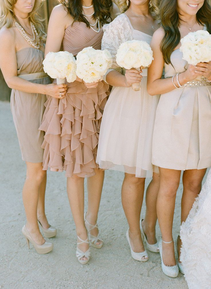 Neutral Mismatched Bridesmaids Dresses Vanilla And