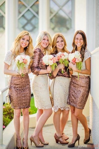 @Allie Dobson: Bridesmaid Outfit, Bridesmaid Dresses, Cute Idea, Lace Bridesmaid, Sequins Bridesmaid, Sparkly Bridesmaid, Pencil Skirts, Mismatch Bridesmaid, Bridesmaid Idea