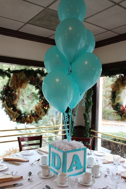 Baby Block Cube Centerpiece with Balloons
