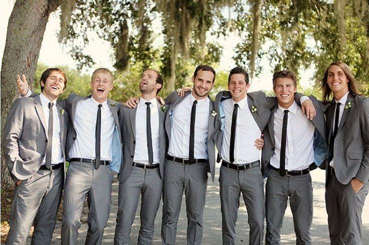 groomsmen attire | 27 Stylish Groom's Outfit Ideas With Skinny Ties | Weddingomania, with yellow tie