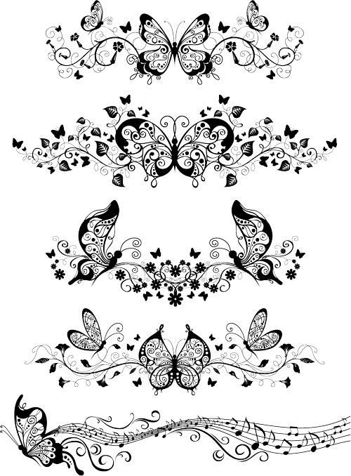 free tattoo templates | Vector ornaments with butterflies | Free Stock Vector Art ...: