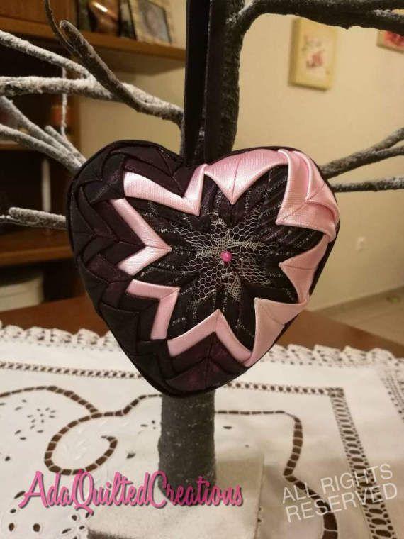 Quilted heart ornament girl's nursery decor door hanger